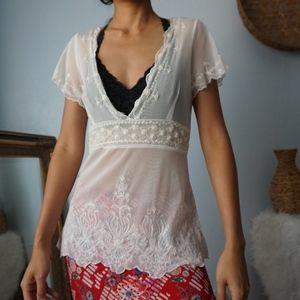 Vintage Beaded Embroidered Mesh V Neck Blouse Smal